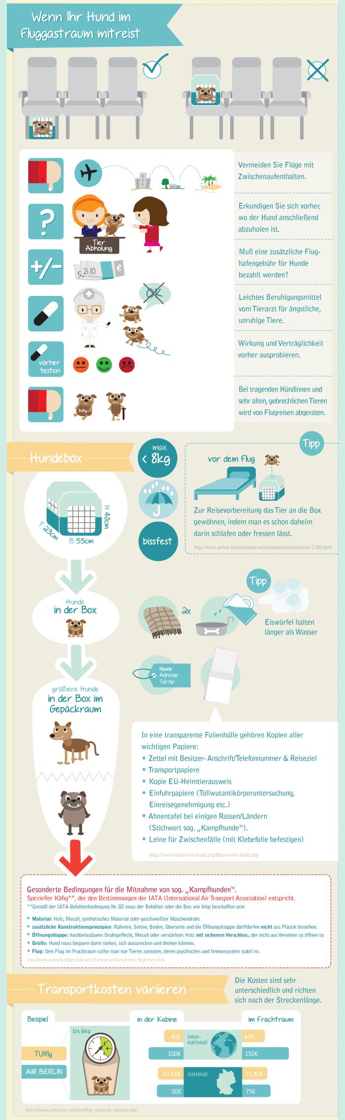 Mit dem Haustier auf Flugreise. KAYAK Infografik, Teil 3